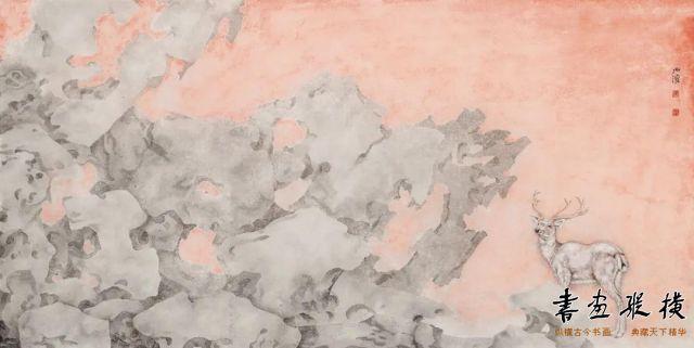 苏子渲瑞鹿图34cm×68cm纸本设色2020年