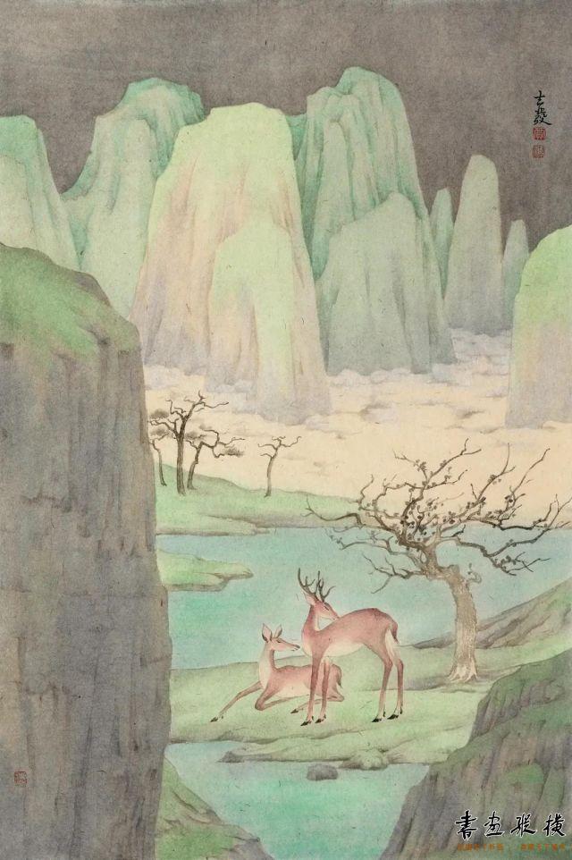 贾志发双鹿图69cm×46cm纸本设色2020年