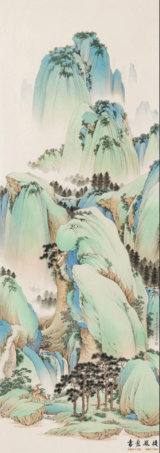 刘志明春山鹿鸣97cm×34cm纸本设色2020年