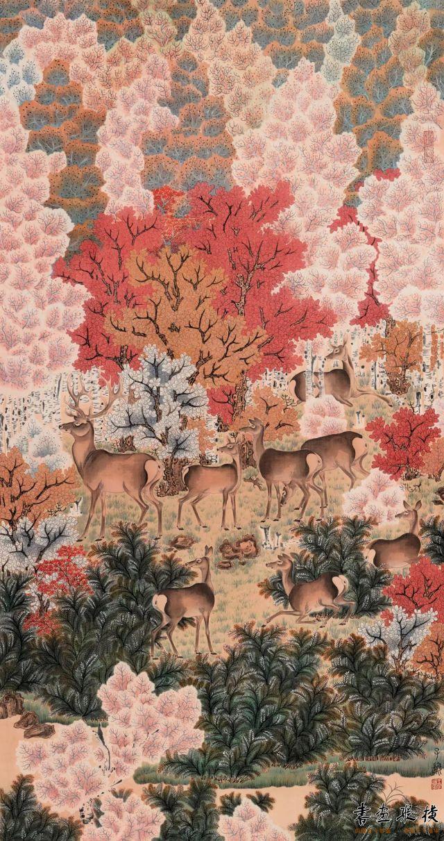 王子逸丹枫呦鹿图116cm×63cm绢本设色2020年