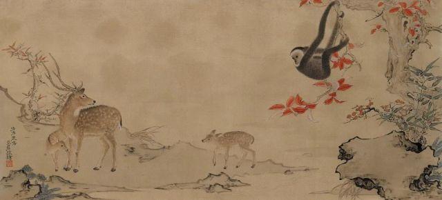 邓见君呦呦鹿鸣39cm×87cm绢本设色2020年