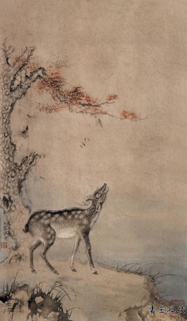李文馨鹿鸣69cm×40cm纸本设色2020年
