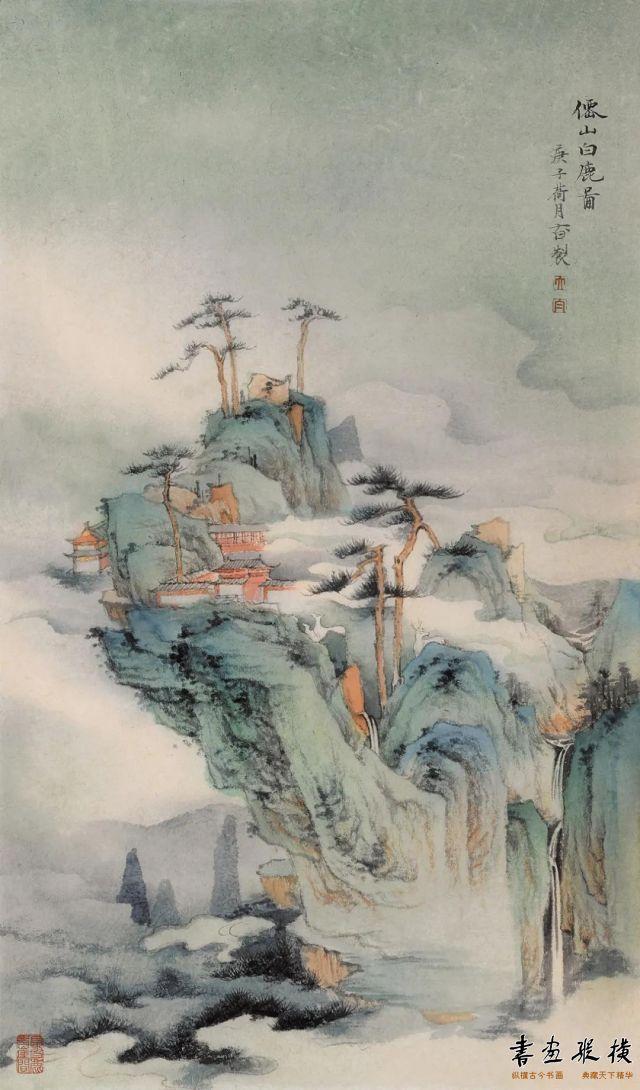 赵大白仙山白鹿图54cm×32cm纸本设色2020年